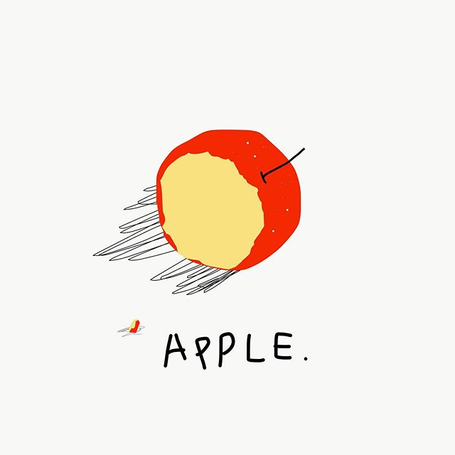 맛있었다 – _  #jtdesignlife#illust#illustration#apple#red#drowings