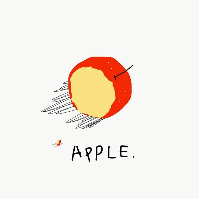 맛있었다 – _  #jtdesignlife#illust#illustration#apple#red#drowings
